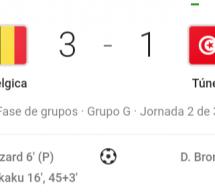 النتيجة الحالية لمباراة تونس وبلجيكا